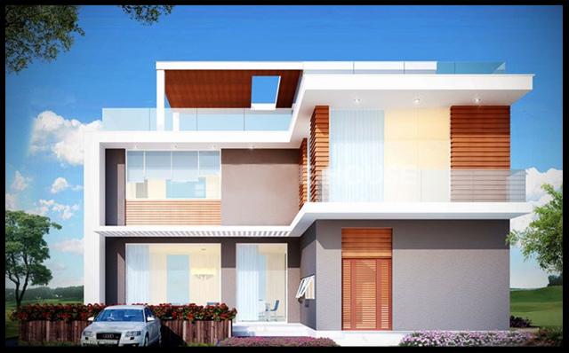 mẫu biệt thự hiện đại 2 tầng kiến trúc mái bằng